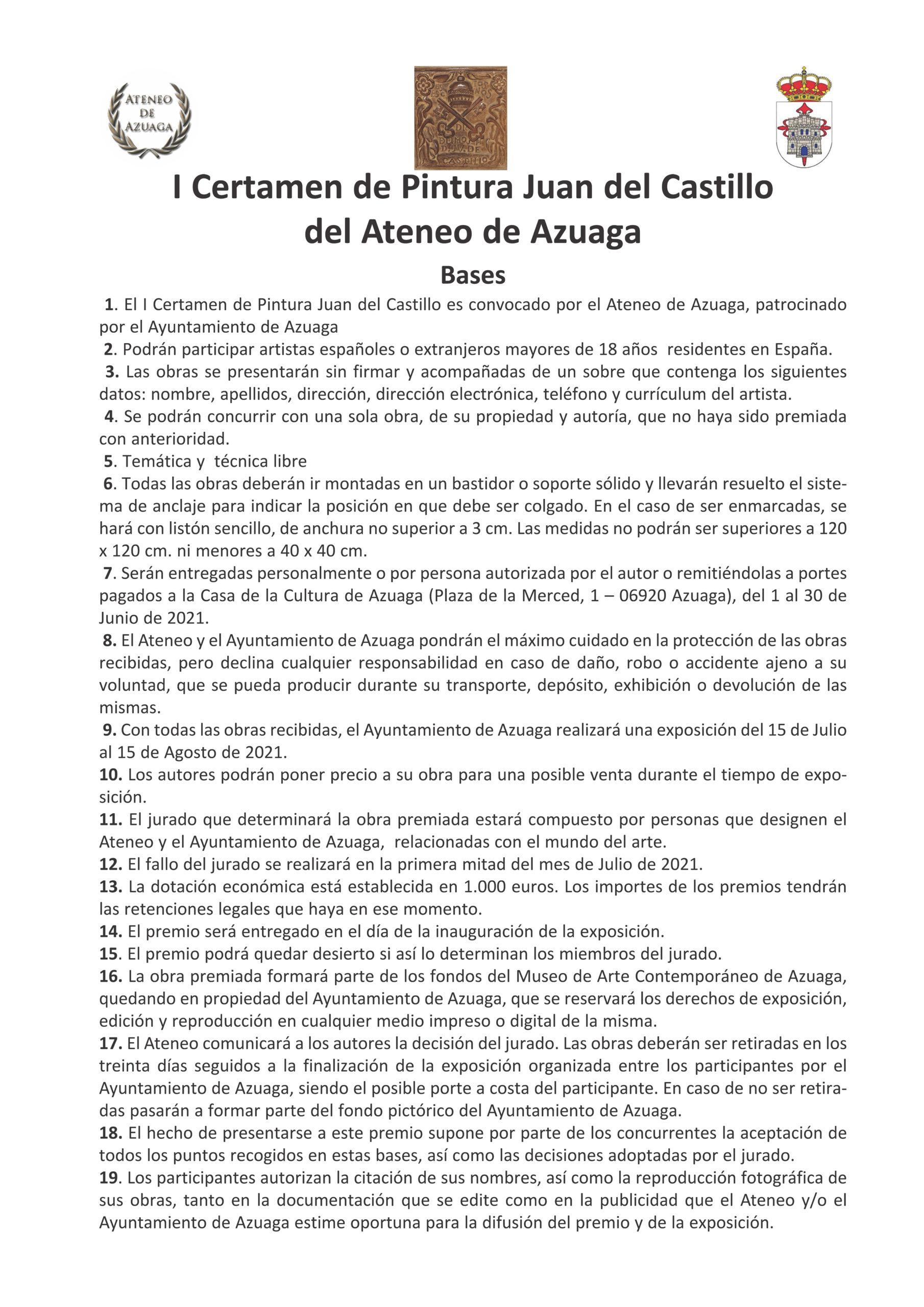 """I CERTAMEN DE PINTURA """"JUAN DEL CASTILLO"""" DE AZUAGA"""