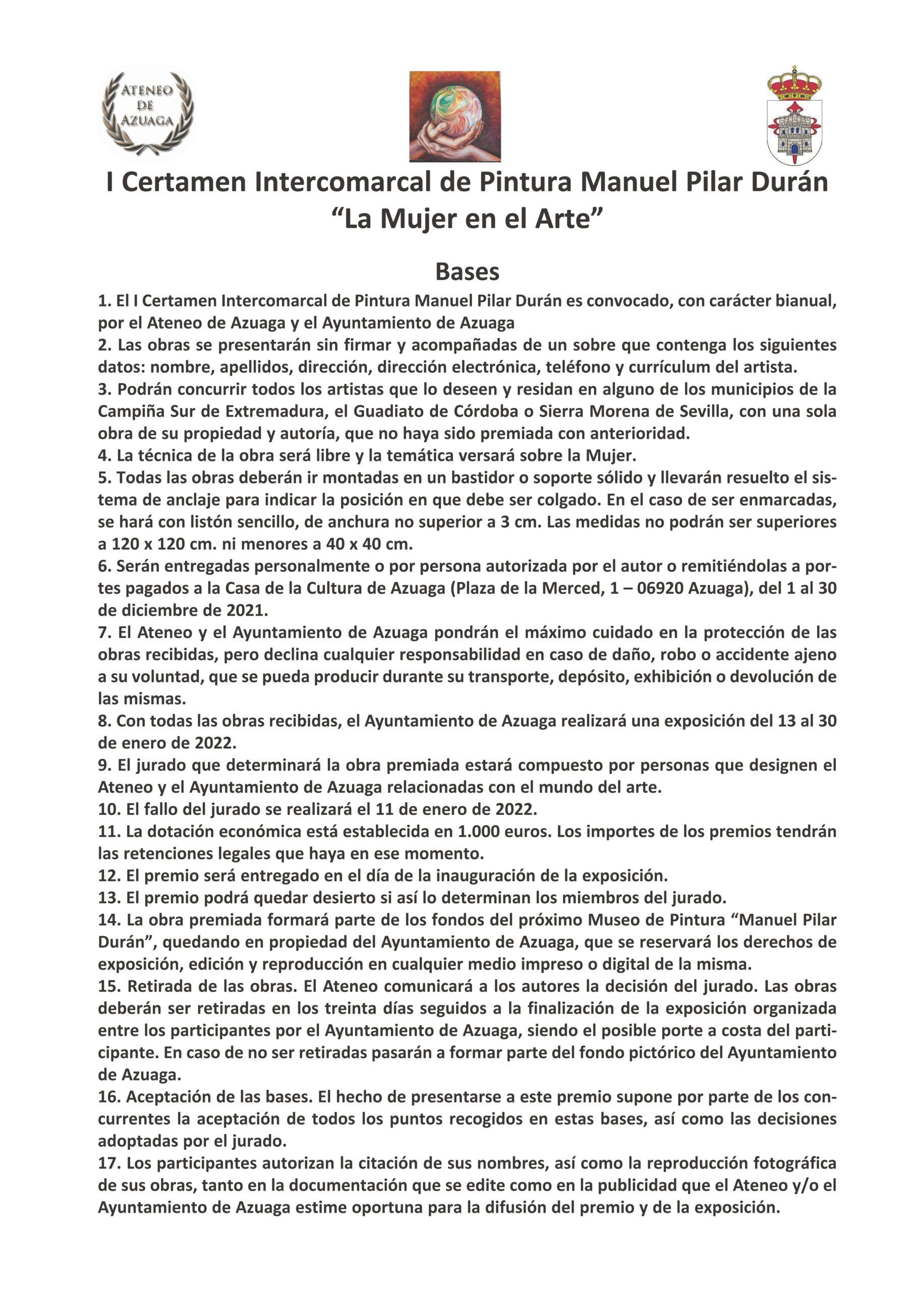 """I Certamen Intercomarcal de Pintura """"Manuel Pilar Durán """""""